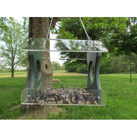 JCs Wildlife Recycled Poly Lumber Hanging Birdfeeder, Green, 3 Cup Capacity