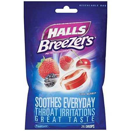 - 4 Pack Halls Breezers Pectin Cool Berry Throat Drops 25 Count Each