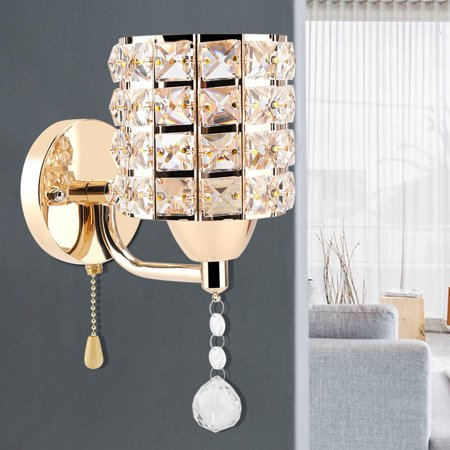 Qiilu 2Pcs Modern Wall Lantern Crystal Lamp Holder Home Bedroom Living Room Decoration 110V, Wall Light, Wall Light Lamp - image 12 of 12