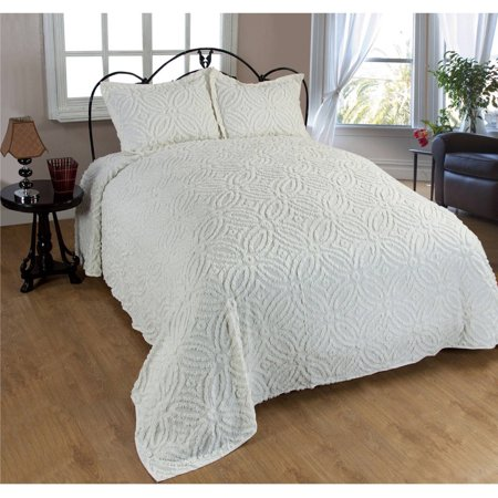 Alicia Wedding Chenille Bedspread Full - Ivory ()
