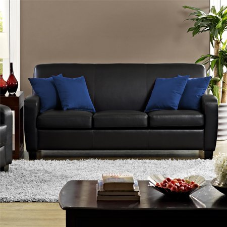 Awesome Mainstays Faux Leather Sofa Black Walmart Com Theyellowbook Wood Chair Design Ideas Theyellowbookinfo