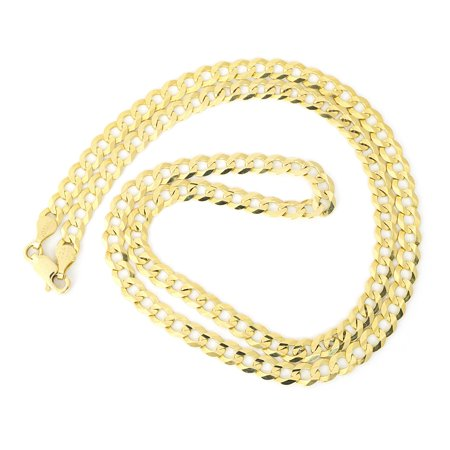 Solid 14k Yellow Gold Comfort Cuban Curb 4.7mm Chain Necklace, 20