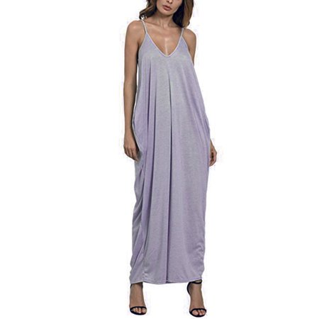 Women's Boho Loose Fit Beach Wear Spaghetti Straps Casual Maxi Dress (Casual Formal Wear)