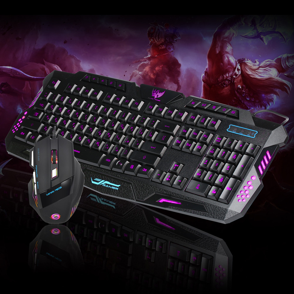 New Fashion LED Gaming wired 2.4G keyboard and 5500DPI Mouse Computer Multimedia Gamer