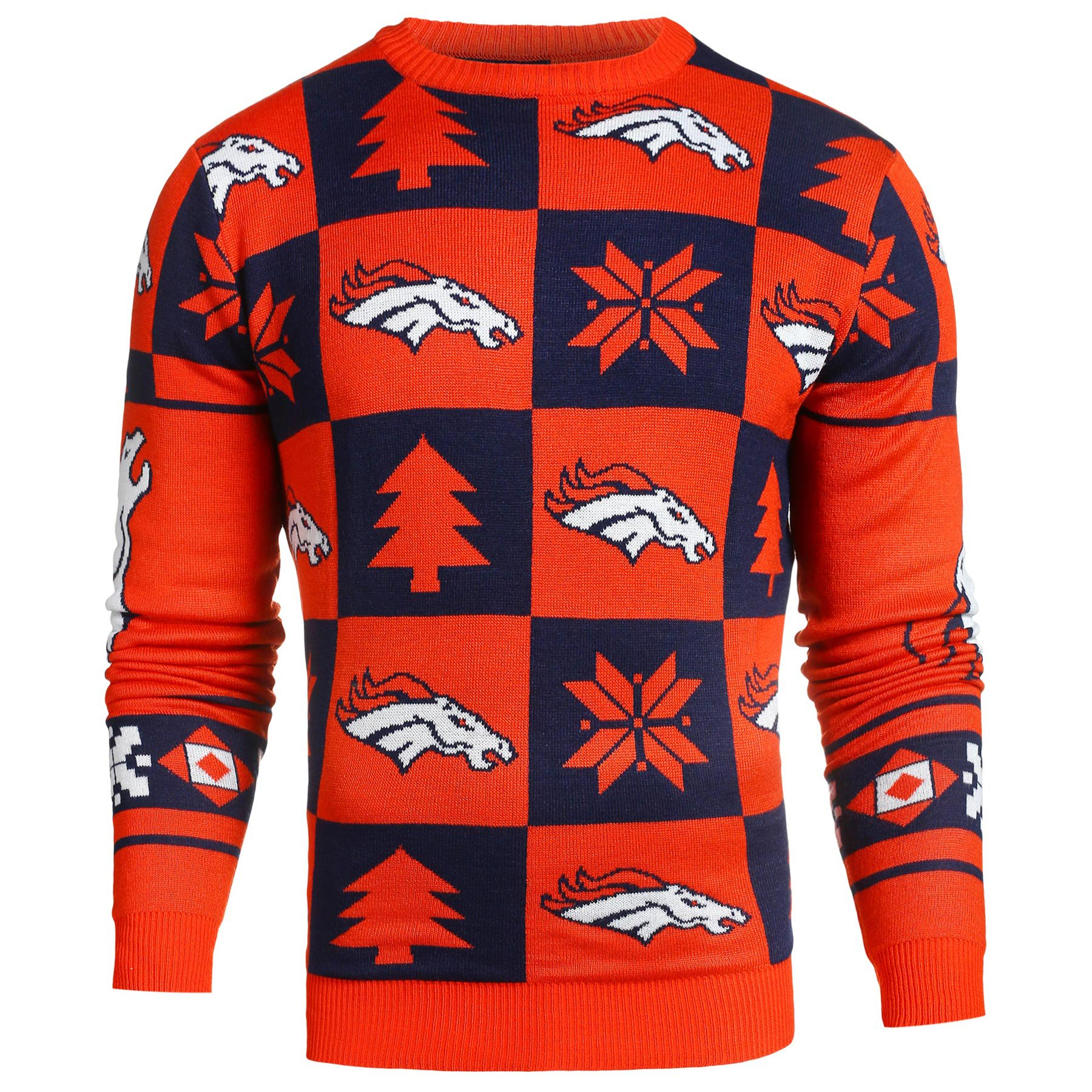 best service 2dd2b 211fb Denver Broncos NFL Patches Ugly Crewneck Sweater - Klew ...