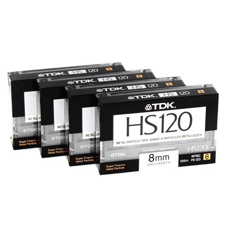 8mm Metal Particle Cassette Tape TDK HS120 120 Minute Blank Camcorder 4 Pack Hi8 and Digital 8 Compatible ()