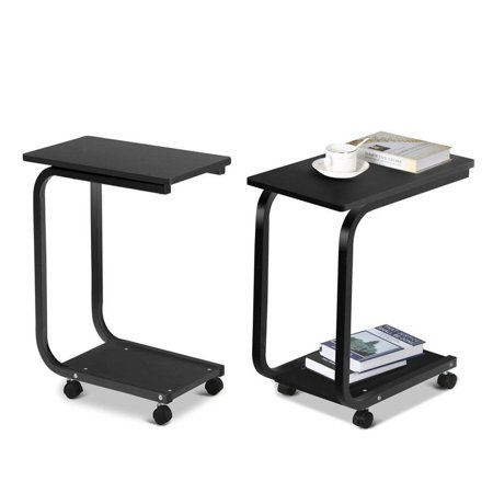 Ktaxon Coffee Tray Rolling Coffee Laptop Table Stand Side Table,Sofa Bed Tray Computer Desk,Black