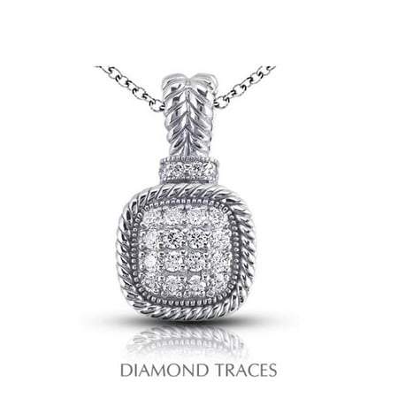 Diamond Traces 0.50 Carat Total Natural Diamonds 18K White Gold Pave Setting Rope Edging With Milgrain Fashion Pendant - image 1 of 1