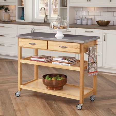Home Styles Kitchen Island with Stainless Steel Top - Walmart.com