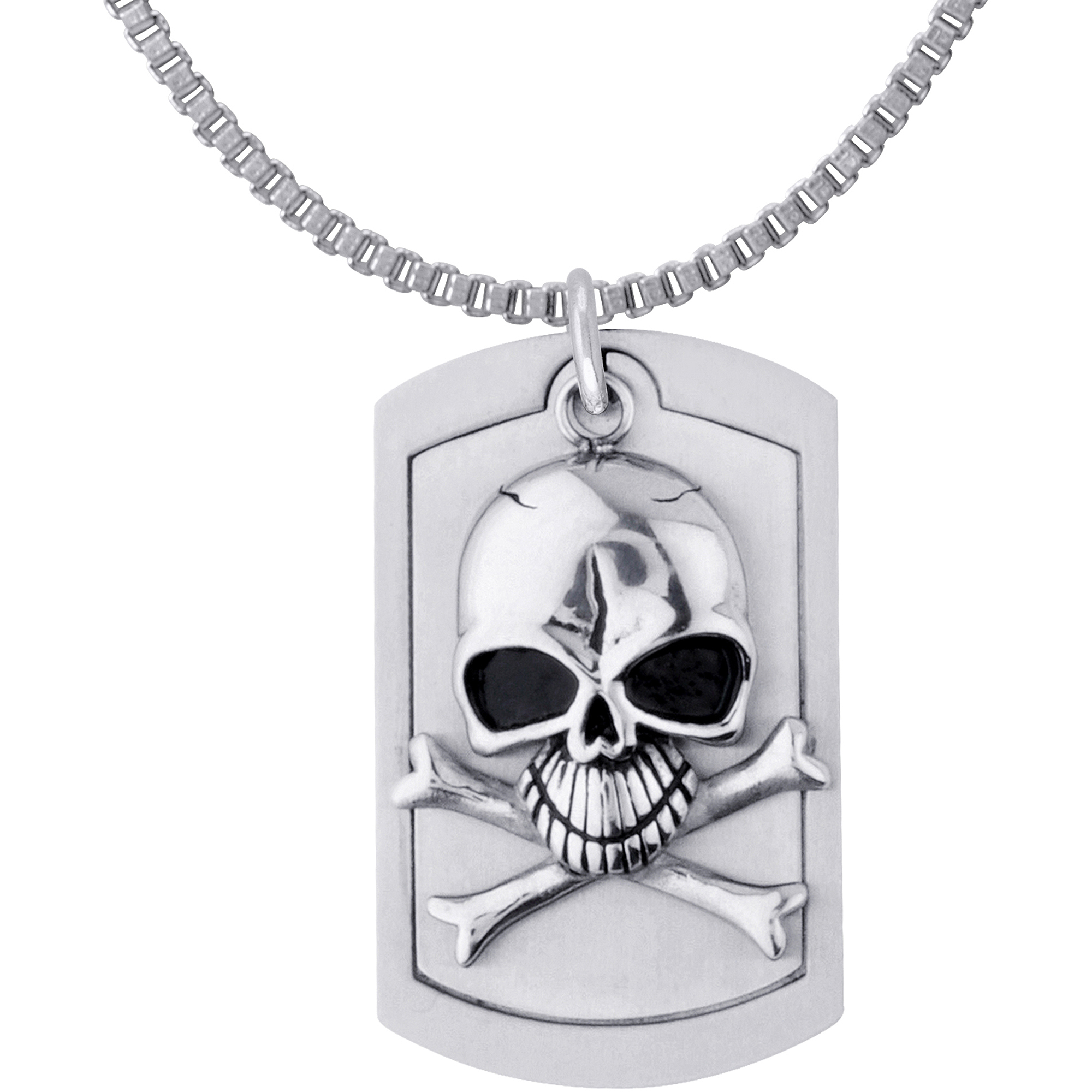 """Steel Art Men's Stainless Steel Skulls Pendant, Comes with 30"""" Chain Necklace"""