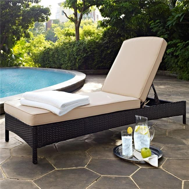 Palm Harbor Outdoor Wicker Chaise Lounge with Sand Cushions - Brown