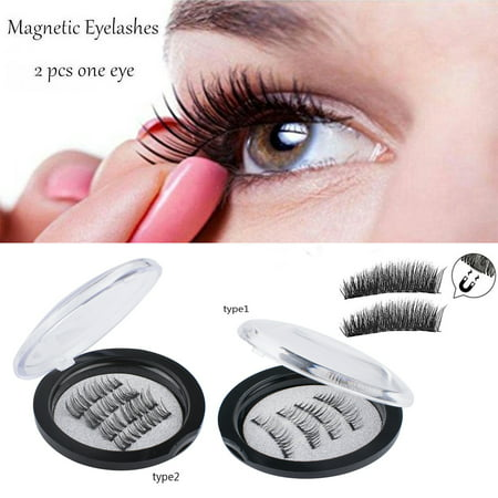 Triple Magnetic Eyelashes, 8 Lashes Magnetic False Eye Lashes, 3D Reusable Magnetic False Eyelashes, Seconds to Apply No Glue 0.2MM Ultra Thin Fake Lashes for Ladies And Women (2 Pairs / 8 Pcs) - Feather Fake Eyelashes