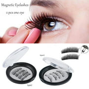 Triple Magnetic Eyelashes, 8 Lashes Magnetic False Eye Lashes, 3D Reusable Magnetic False Eyelashes, Seconds to Apply No Glue 0.2MM Ultra Thin Fake Lashes for Ladies And Women (2 Pairs / 8 Pcs)