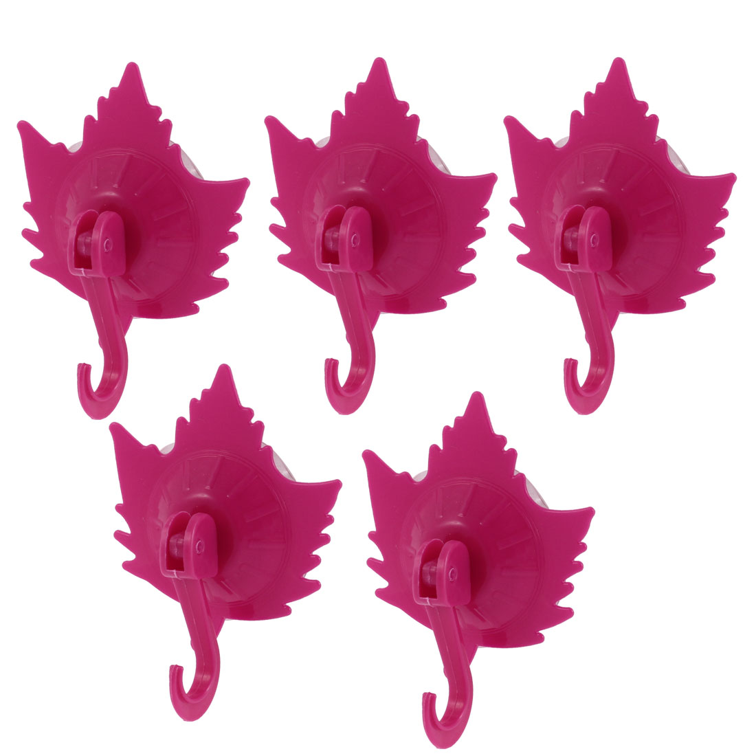 Home Clothes Coat Maple Leaf Design Suction Cup Hooks Wall Hangers Fuchsia 5pcs