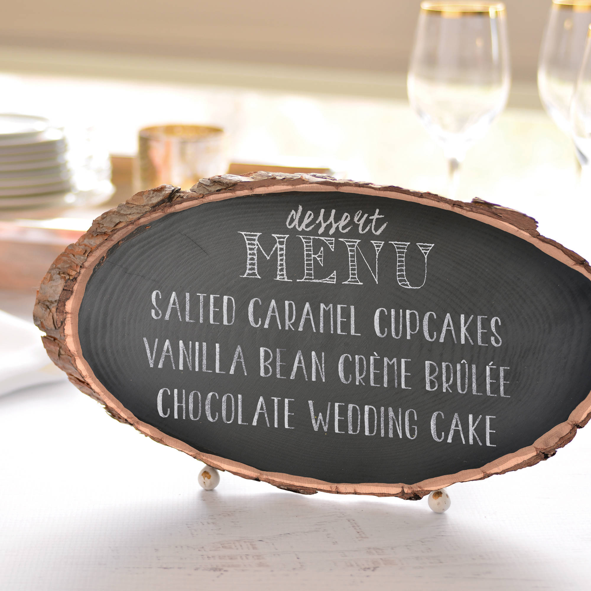 Wood Slab Chalkboard Sign