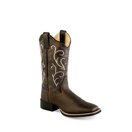 Old West Dark Brown Womens Leather 11in Scallop Cowboy Boots 6M Ladies Dark Brown Leather
