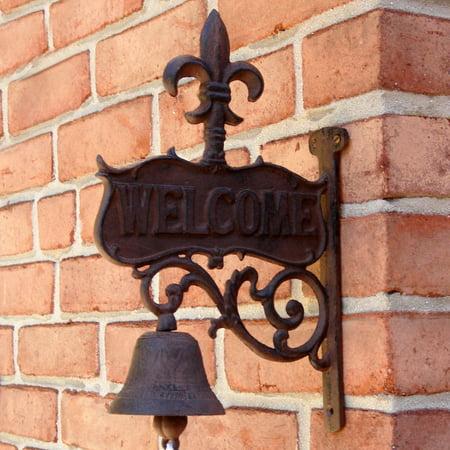 Iron Fleur De Lis (Rustic CAST IRON art FLEUR DE LIS Old Welcome Dinner BELL antique wall decor )