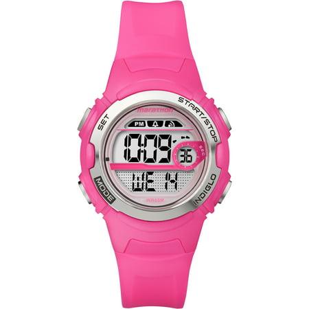 Marathon Women's Digital Mid-Size Watch, Bright Pink Resin