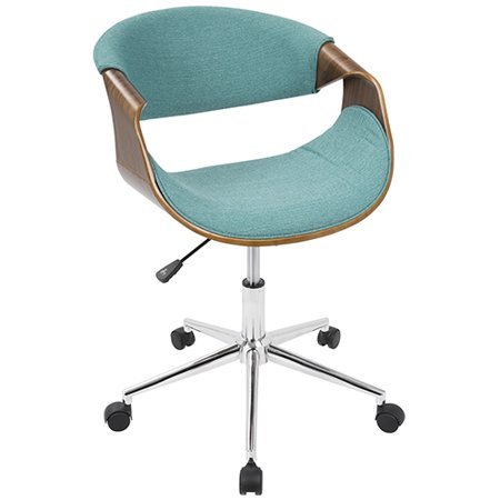Curvo Mid-Century Modern Office Chair in Walnut and Teal by LumiSource