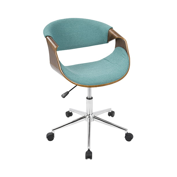 Curvo Mid Century Modern Office Chair In Walnut And Teal By Lumisource Walmart Com Walmart Com
