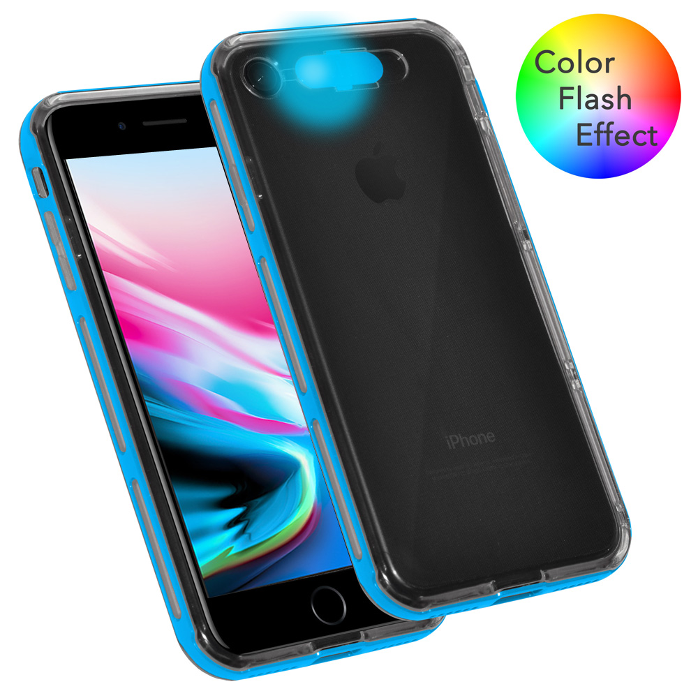 iPhone 8 Case, Dual Layer Slim Protective Bumper Cover Clear Back Case with Color Flash Effect for iPhone 8 - Clear/ Lt. Blue