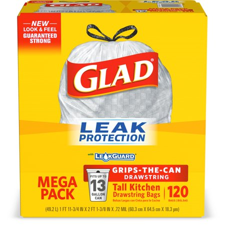 - Glad Tall Kitchen Drawstring Trash Bags - 13 gal - 120 ct