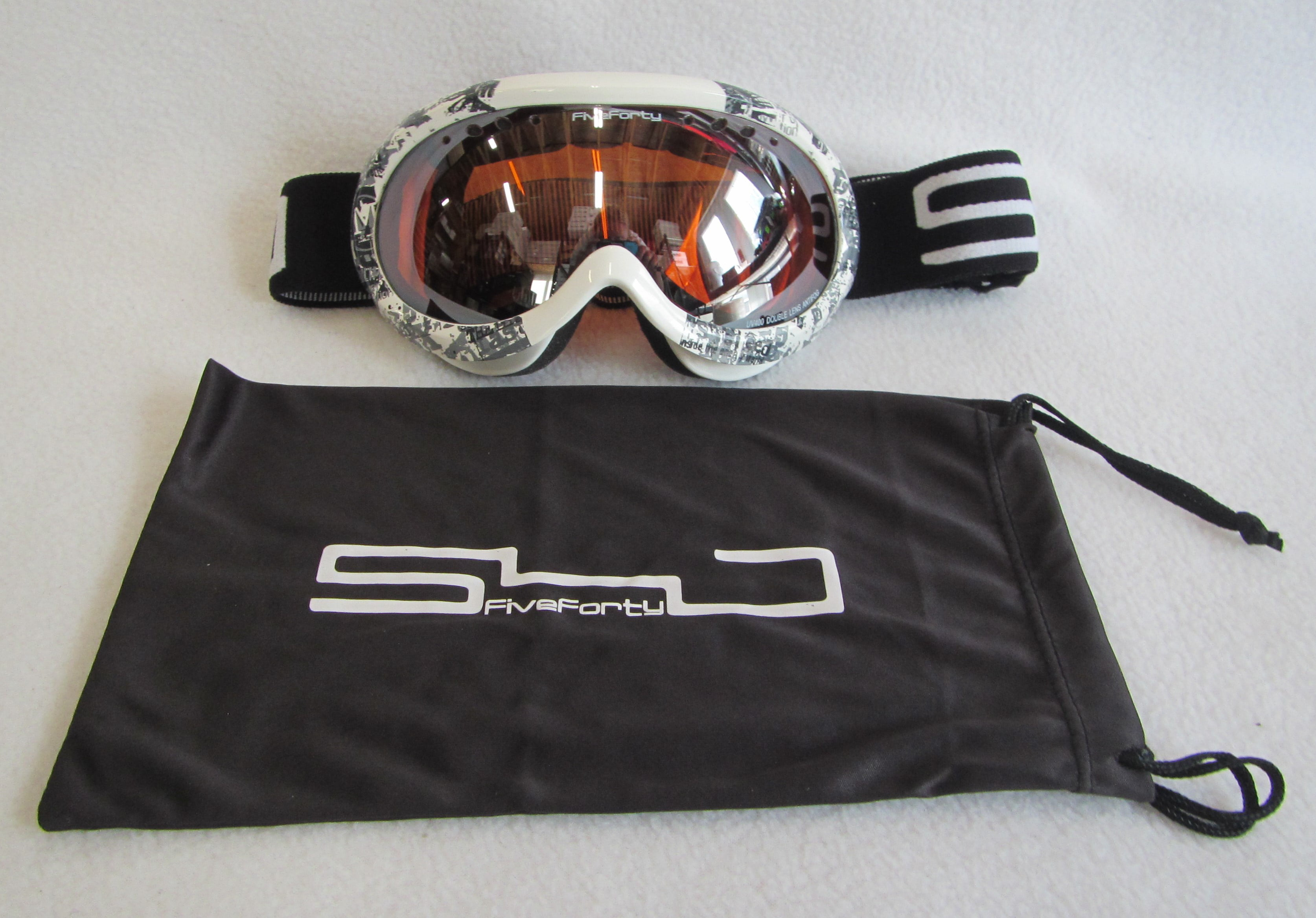 "YOUTH KIDS SKI SNOWBOARD GOGGLES ""540 PIPE"" ORANGE LENS, WHITE BLACK FRAME (ONE SIZE) by"
