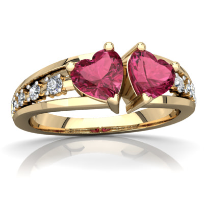 Pink Tourmaline Heart to Heart Ring in 14K Yellow Gold by