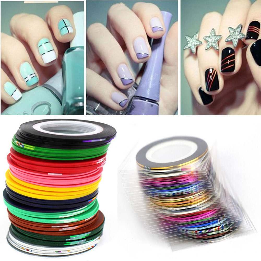 Nail Striping Tape Walmart: Outtop 43Pcs Mixed Colors Rolls Striping Tape Line DIY