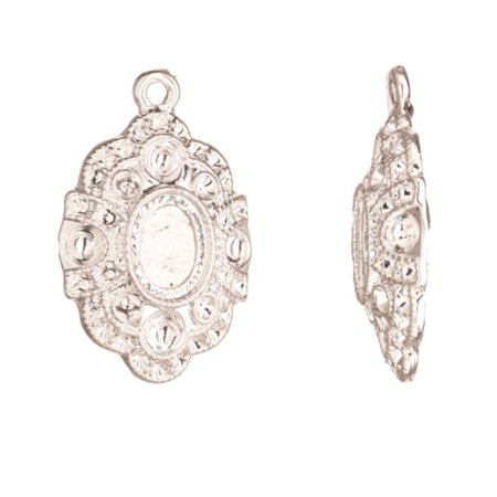 Charms, Silver-Plated Fancy Oval Cabochon And Crystal Setting 30x20mm Fits 7.5x10mm Cabochon And 4pcs ss17, 4pcs ss8/Pp17 And 26pcs ss5/Pp11 Swarovski Crystals