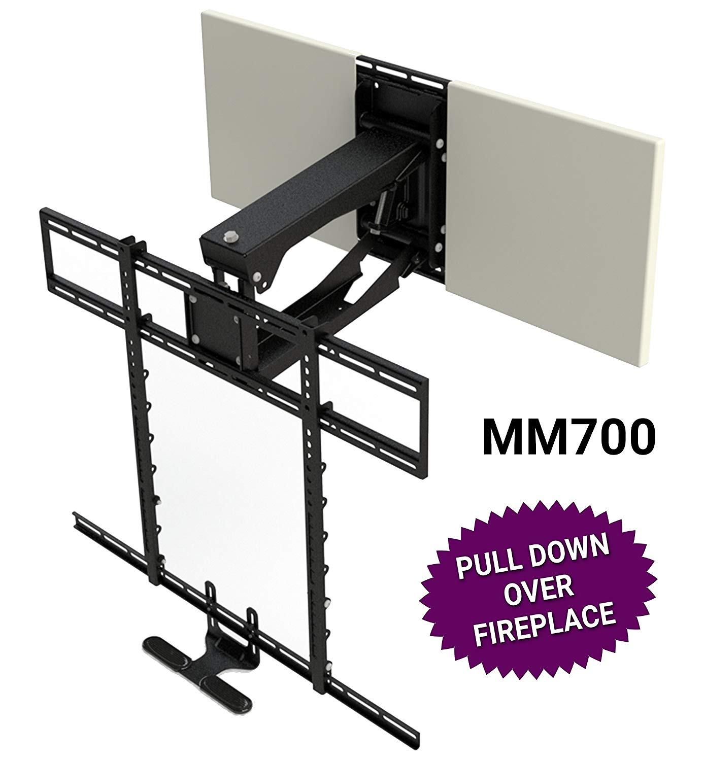 Mantelmount mm700 pro series above fireplace pull down tv - Pull down tv mount over fireplace ...