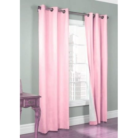 - (#72) 1 PANEL LIGHT PINK SOLID THERMAL FOAM LINED BLACKOUT HEAVY THICK WINDOW CURTAIN DRAPES BRONZE GROMMETS 84
