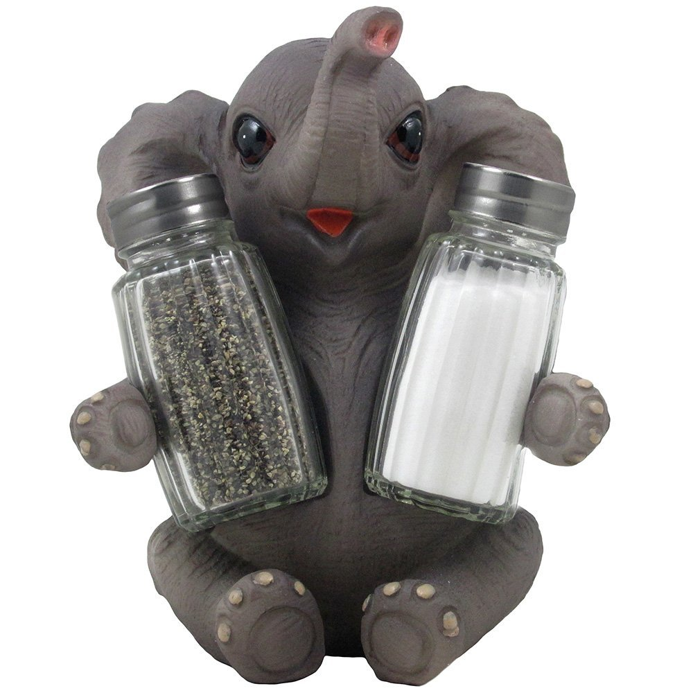 Bon Sitting Baby Elephant Glass Salt And Pepper Set With Decorative Figurine  Holder For African Safari Kitchen Table Decor By Home U0027n Gifts   Walmart.com