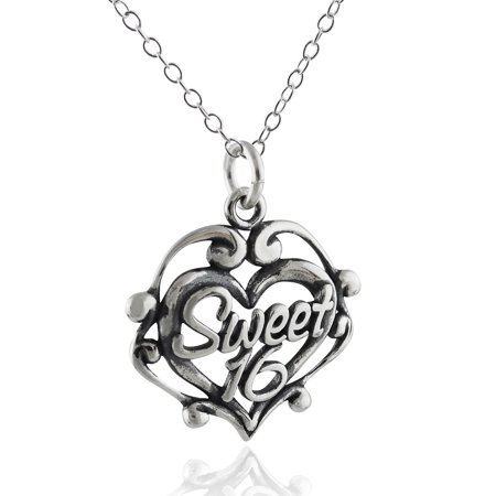 - Sterling Silver Sweet 16 Charm Necklace, 18