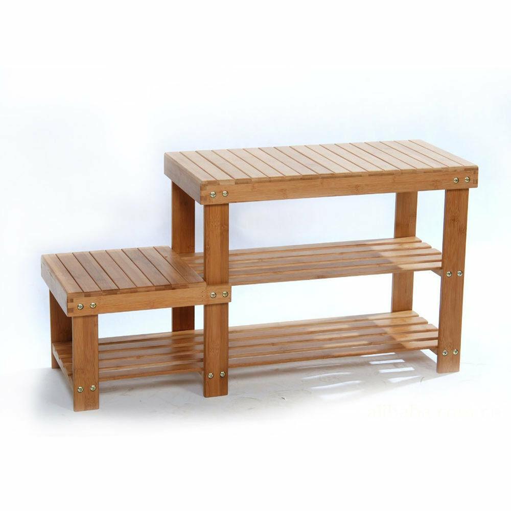 Zimtown 100% 2 Tiers Natural Bamboo Shoe Bench Shoe Rack Organizer Entryway Storage Shelf for Closet Bathroom Bedroom Balcony