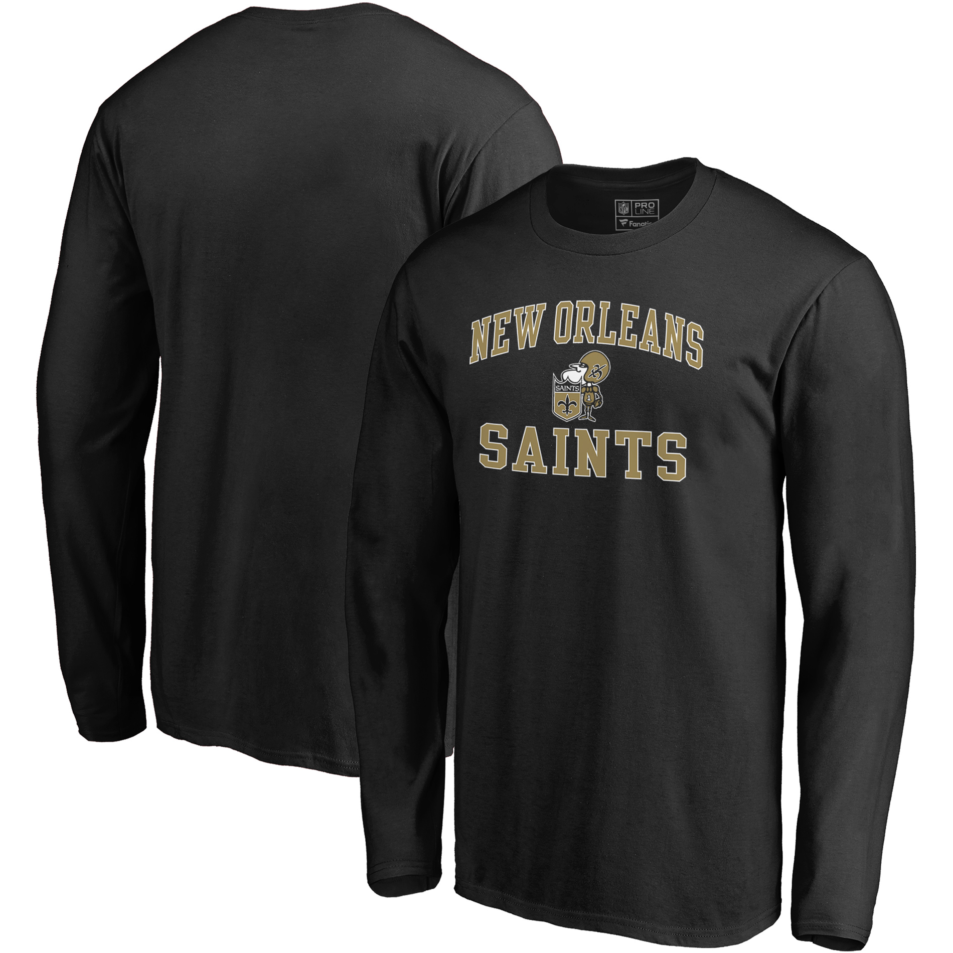 New Orleans Saints NFL Pro Line by Fanatics Branded Vintage Victory Arch Long Sleeve T-Shirt - Black
