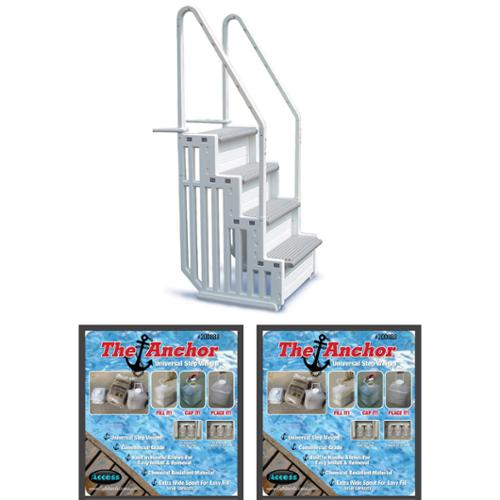 CONFER STEP-1 Above Ground Pool Ladder Step System Entry with 2 Sand Weights