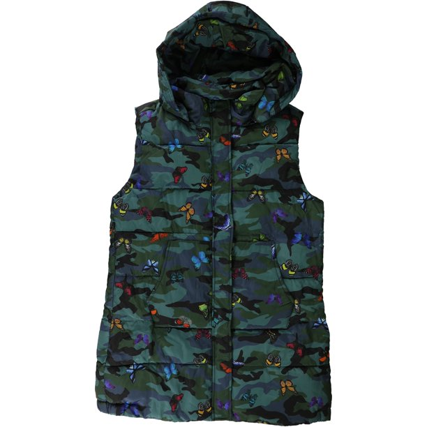 GUESS Womens Butterfly Puffer Vest greenmulti XL