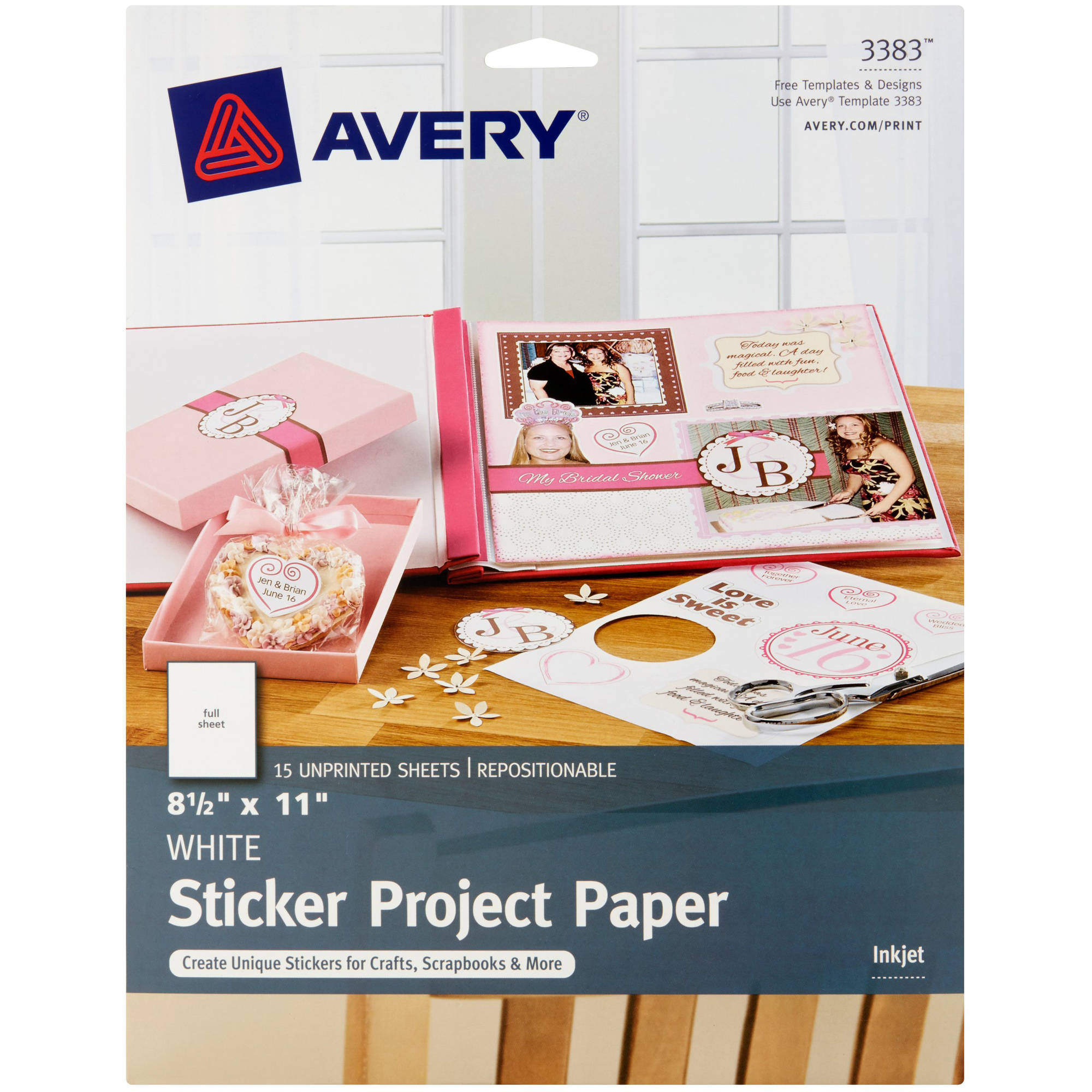 "Avery(R) Sticker Project Paper 3383, 8-1/2"" x 11"", White, Pack of 15"
