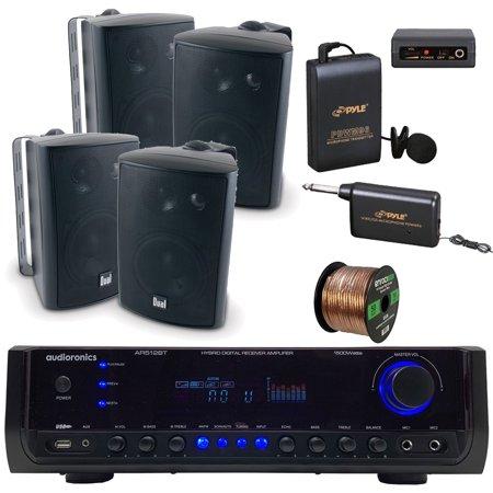 Audioronics 1500 Watt Hybrid Digital Stereo Receiver Amplifier, Dual Electronics 4