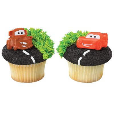 24 Cars Mater And McQueen Cupcake Cake Rings Birthday Party Favors Cake Toppers - Car Birthday Supplies