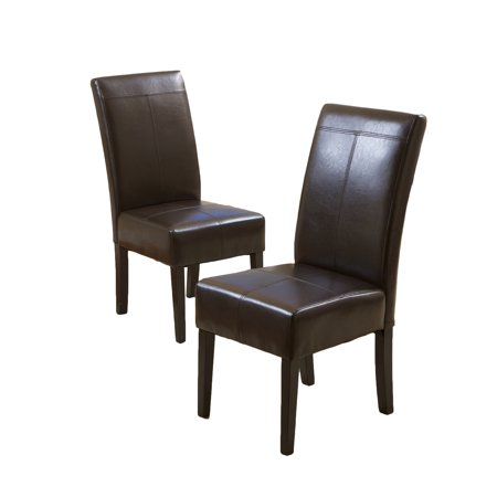 Noble House Franklin T-stitch Chocolate Brown Bonded Leather Dining Chairs, Set of 4 ()