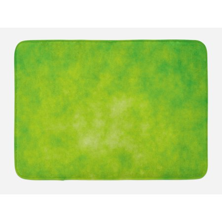 Lime Green Bath Mat, Cloudy Shade of Color Pastel Toned Hazy Backdrop Irish Tones Artistic Digital, Non-Slip Plush Mat Bathroom Kitchen Laundry Room Decor, 29.5 X 17.5 Inches, Lime Green, - Shade Bath Light