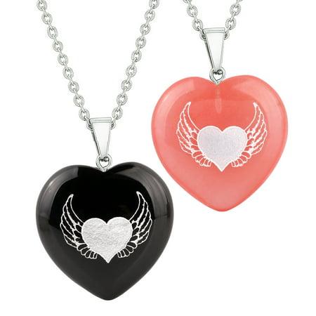 Heart Amulets Angel Wings Heart Love Power Love Couples Best Friends Set Agate Simulated Quartz