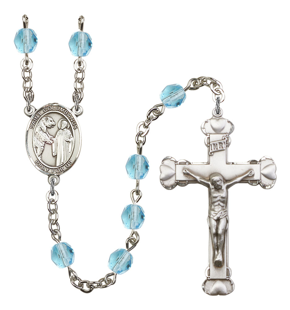 St. Columbanus Rosary Plated in Silver with 6mm Aqua Fire Polished Beads by Bliss Mfg. Made in the USA!