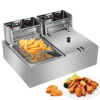 Zimtown Commercial 12L 5000W Professional Electric Countertop Deep Fryer Dual Tank Stainless Steel for Restaurant