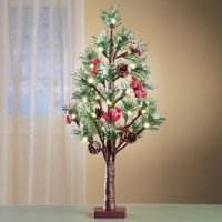 """Collections Etc Rustic Lighted Holiday Evergreen Pine Tree 26""""H"""
