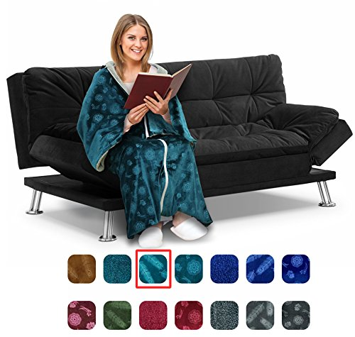 Cōzee Deluxe Wearable Blanket for Adults – Elegant, Cozy, Extra Soft Plush Throw Blanket – Ideal for Elderly & Handicap Clothing, Wheelchairs, or Watching TV (Turquoise-Feathers)