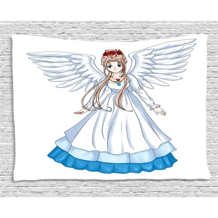 Anime Tapestry, Cartoon Illustration of Cute Angel Wings and Flowers Fairytale Japanese Manga Print, Wall Hanging for Bedroom Living Room Dorm Decor, 60W X 40L Inches, White Blue, by Ambesonne