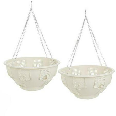 the betta basket hanging flower planter plastic plant pots with steel chain set of 2. Black Bedroom Furniture Sets. Home Design Ideas